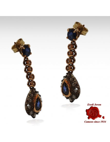 Vintage Sapphire Earrings with Diamonds