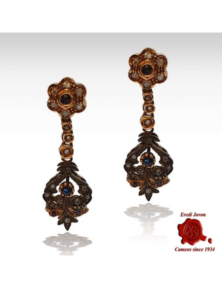 Antique Sapphire Earrings with Diamonds