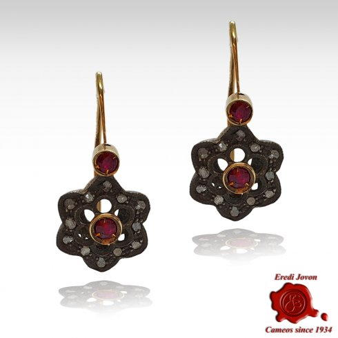 Antique Ruby Earrings with Diamonds