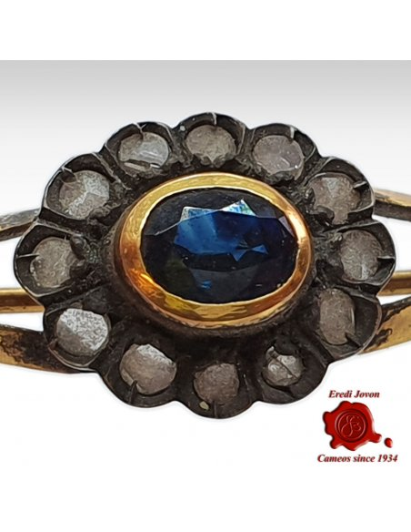 Antique Sapphire Brooch with Diamonds