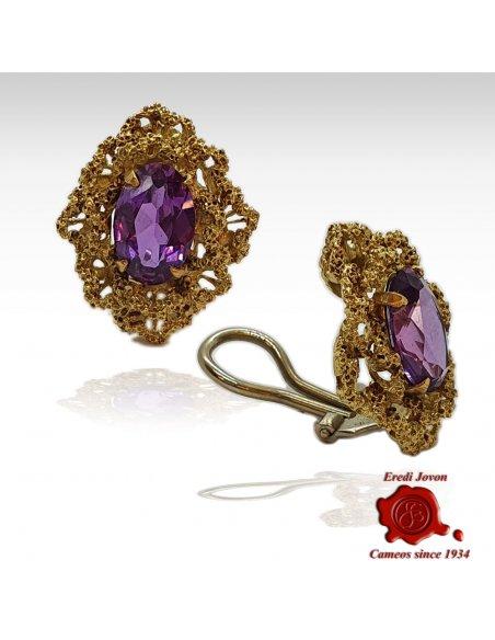 Authentic Vintage Amethyst Earrings in Gold
