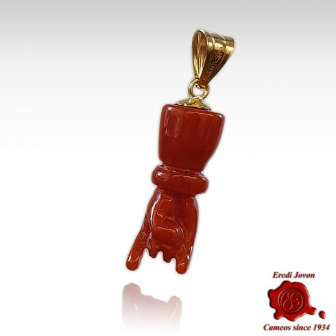 Manocorno Coral & Gold Charm for Necklace