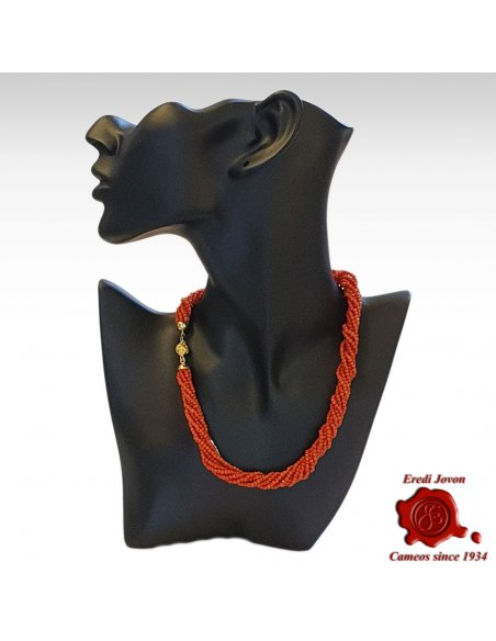 Twisted Multi String Red Coral Necklace Clasp in Gold