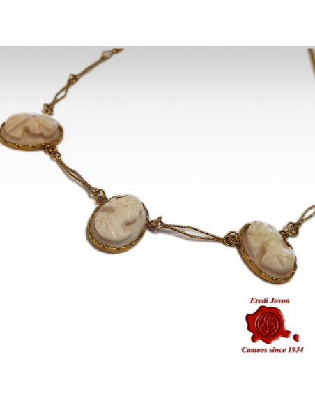 Antique Gold Necklace with Pink Cameo Pendants