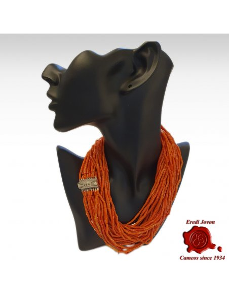 Long Multi String Antique Coral Necklace
