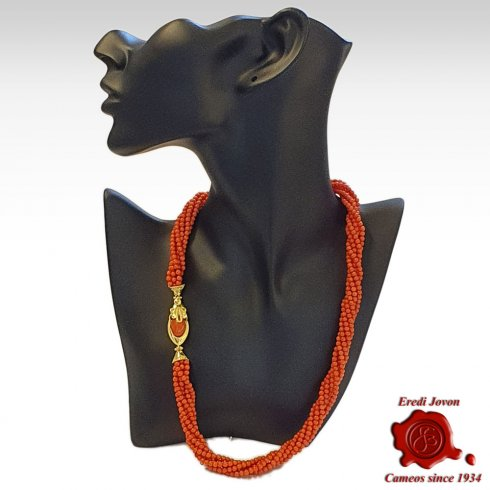 Twisted Multi String Red Coral Necklace Bizantine Clasp in Gold