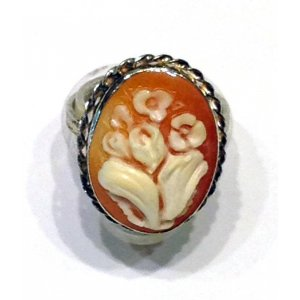 Flower cameo ring silver