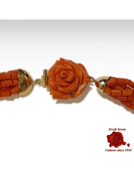 Antique Coral Necklace with Engraved Rose Clasp