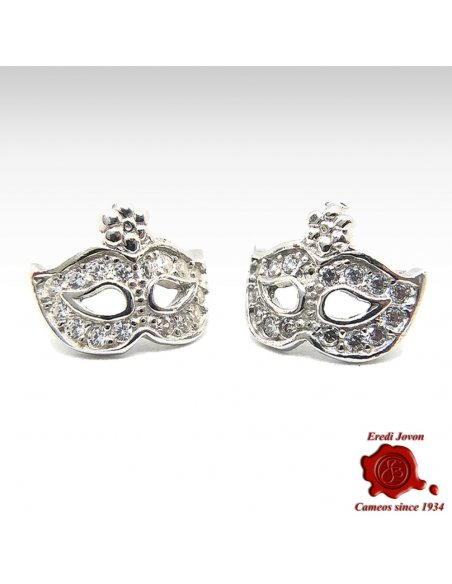 MASK SILVER EARRINGS ZIRCONIA DIAMOND VENETIAN CARNIVAL