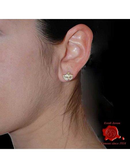 MASK GOLD EARRINGS ZIRCONIA DIAMOND VENETIAN CARNIVAL