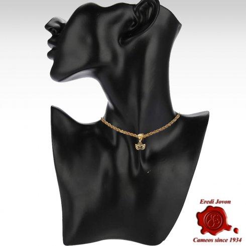 Mask Gold Pendant Zirconia Venetian Carnival