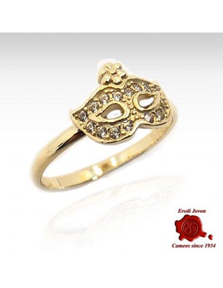 MASK GOLD RING ZIRCONIA DIAMOND VENETIAN CARNIVAL