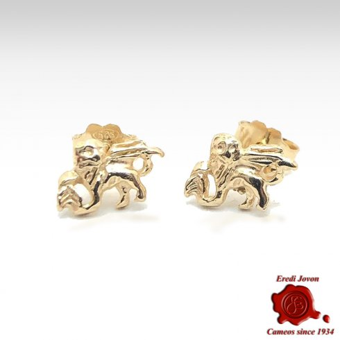 Gold Earrings Winged Lion from Venice