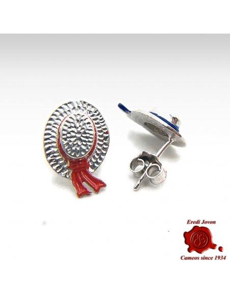 Gondolier Hat Earrings in Silver