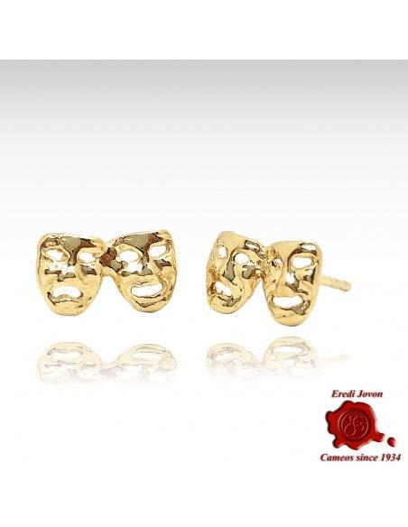 Earrings Comedy & Tragedy Mask in Gold