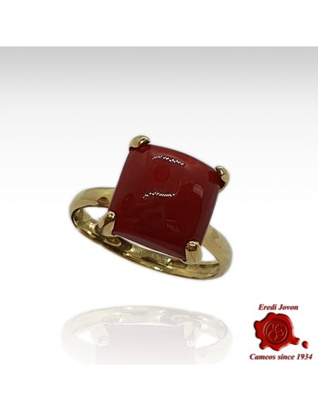 Square Coral Ring in Gold