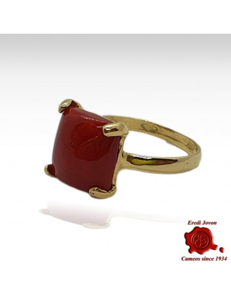 Square Red Coral yellow Gold