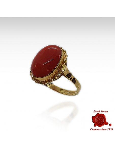 Corallo Rosso Anello Oro