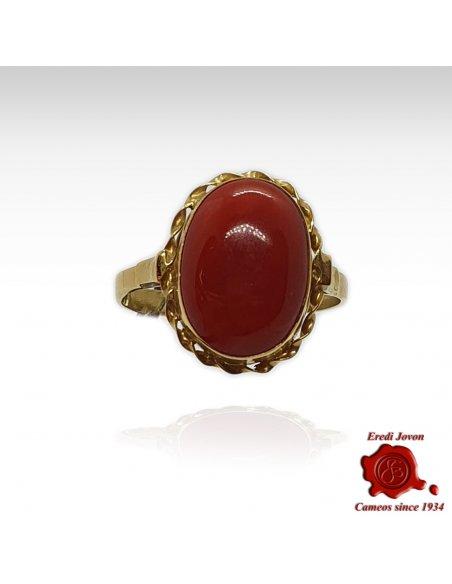 Corallo Rosso Anello Oro Filigrana
