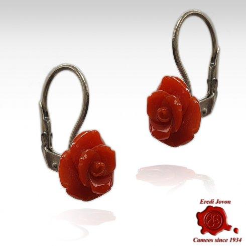 Red Coral Rose Earrings
