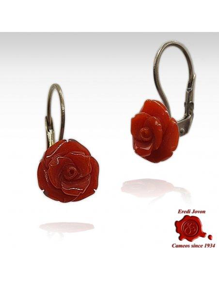 Rose di Corallo Rosso Orecchini Argento