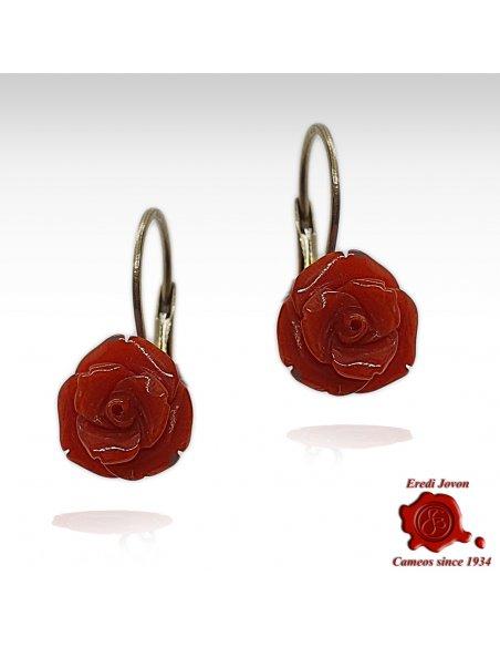 Red Coral Rose Dangle Earrings
