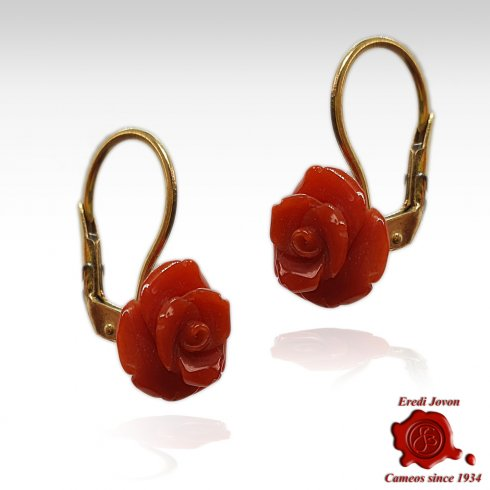 Red Coral Rose Earrings in Gold