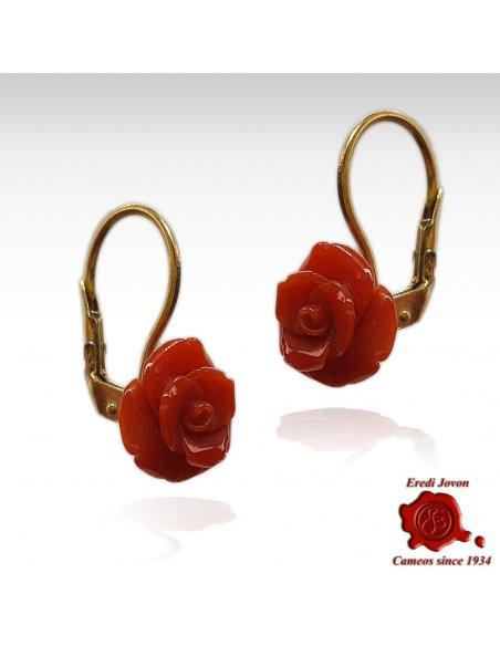 Orecchini Oro con Rose di Corallo