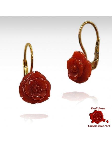 Coral Rose Earrings in Gold