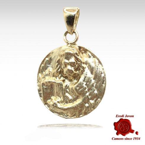 Venetian Coin Moeca Lion Gold Charm
