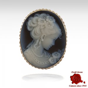 Venice blue cameo brooch