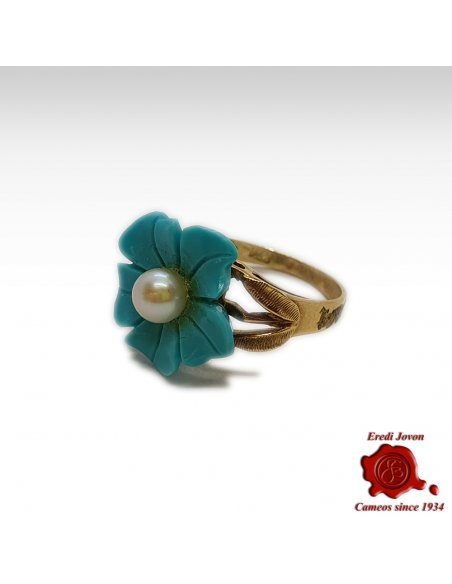 Vintage Turquoise Ring with Pearl