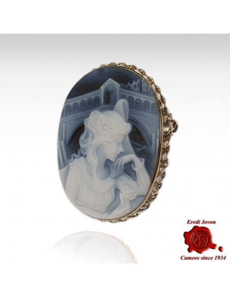 Italian Cameo Blue Silver