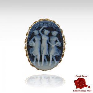 Three Graces blue cameo gold brooch