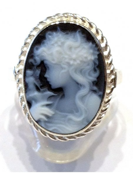 Blue Cameo Ring Lady with Fairy