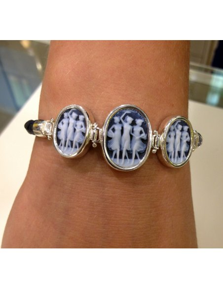 Three Graces Blue Cameo Bracelet