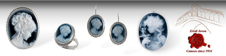 Blue Cameo Necklace Brooches & Jewelry in Agate
